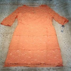 Tahari Arthur Levine Tangerine Lace Knee Length